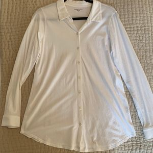 Eileen Fisher White Button Down Shirt sz M